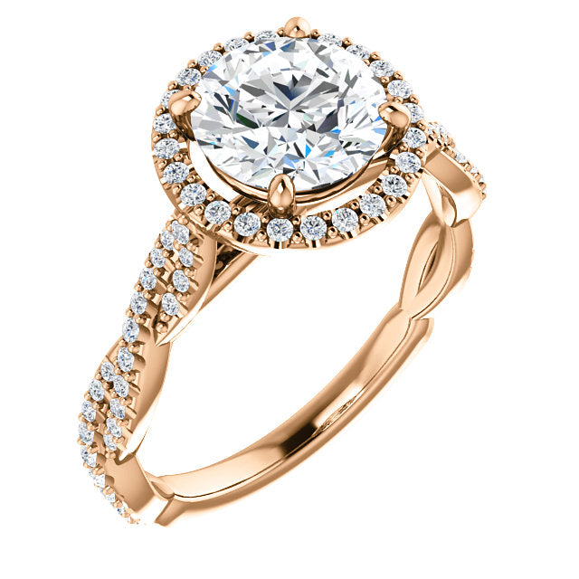 Mallory 14K Rose Gold Round Diamond Halo Engagement Ring