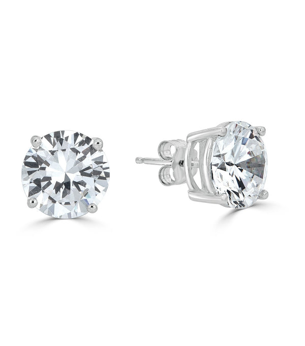 Liz 9mm Round Stud Earrings- Sterling Silver Cubic Zirconia