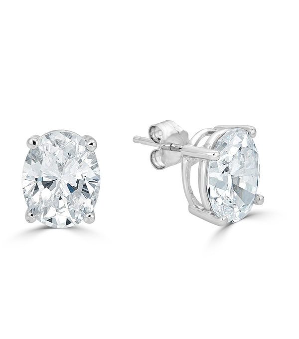 Liz Oval Stud Earrings -Sterling Silver- Premium Cubic Zirconia