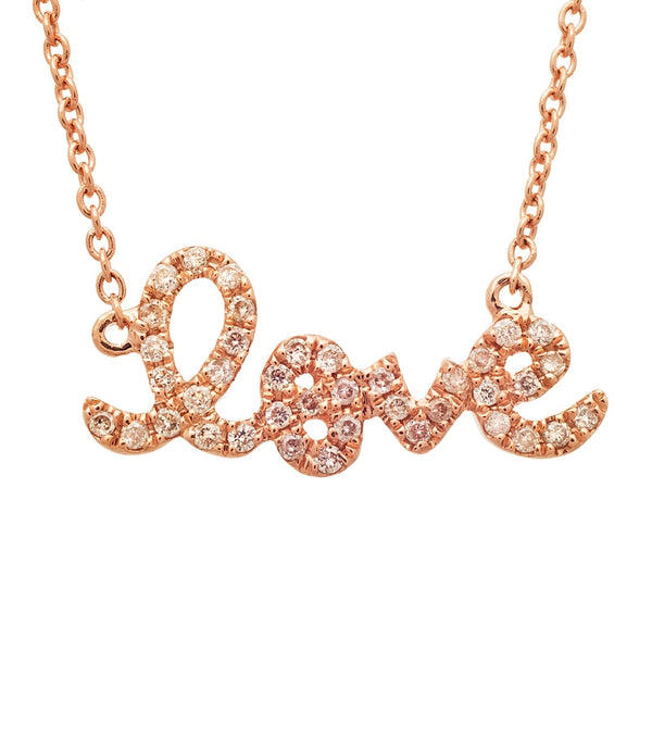 Sydney Evan Small Gold and Diamond Love Necklace