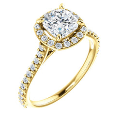 Suri 14K Yellow Gold Cushion Cut Diamond Halo Engagement Ring - Thomas Laine Jewelry