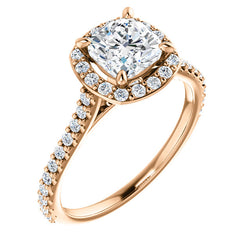 Suri 14K Rose Gold Cushion Cut Diamond Halo Engagement Ring - Thomas Laine Jewelry