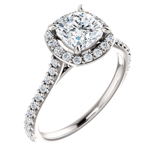 Suri Platinum Cushion Cut Diamond Halo Engagement Ring