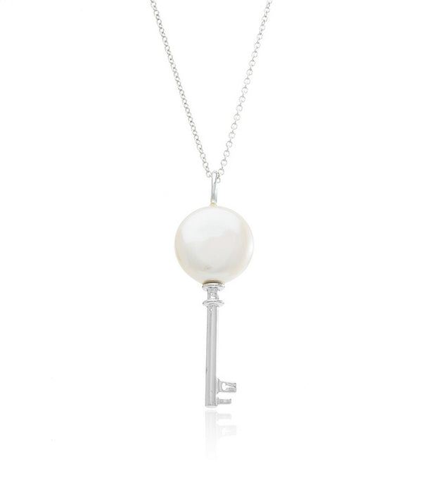 Sterling Silver Pearl Key Necklace