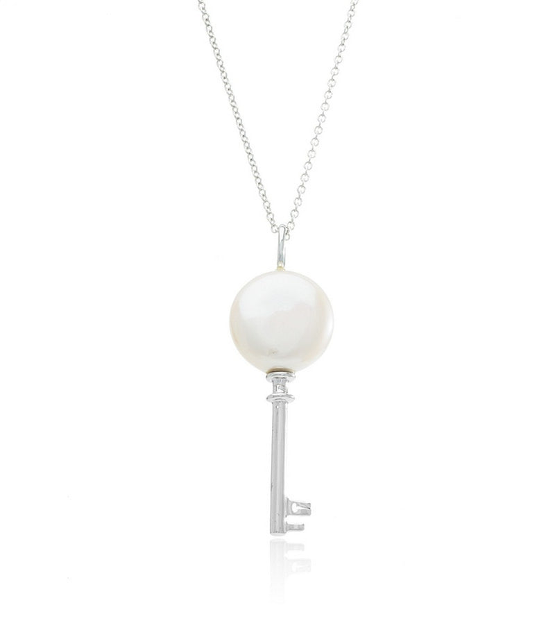 Sterling Silver Pearl Key Necklace - Thomas Laine Jewelry