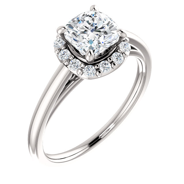 Brooks 14K White Gold Cushion Cut Diamond Halo Engagement Ring - Thomas Laine Jewelry