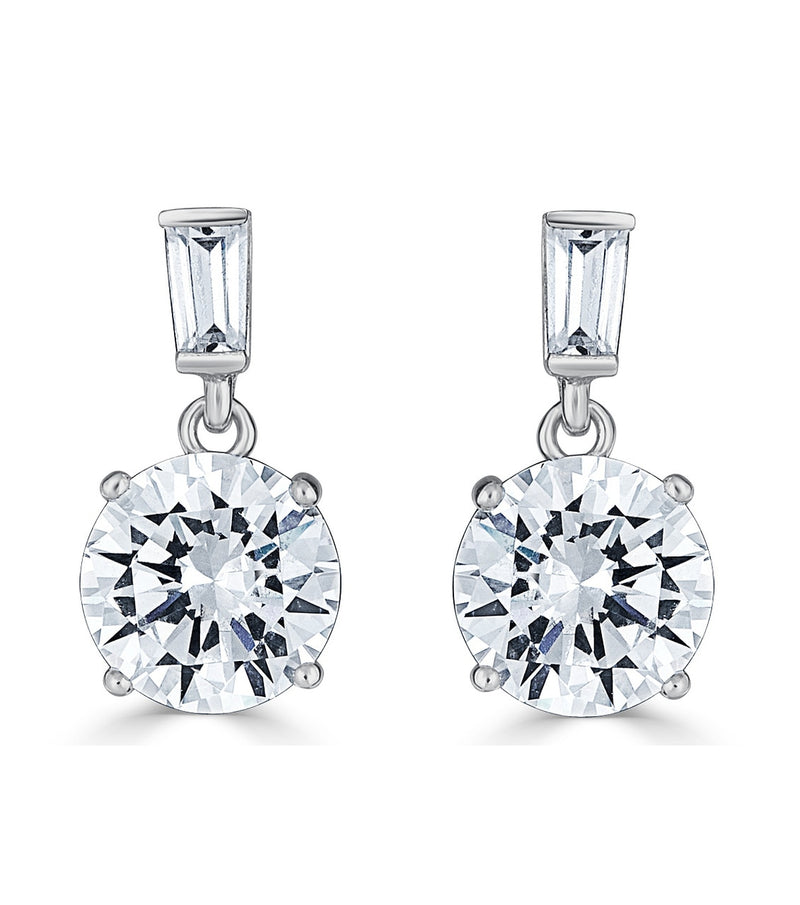 Karolyne Classic  Baguette and Round Drop Earrings