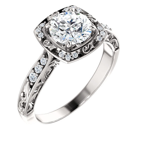 Harlow 14K White Gold Round Diamond Sculptural Halo Engagement Ring