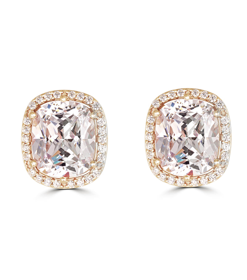 Hollywood Halo Antique Cushion Cut Stud Earrings