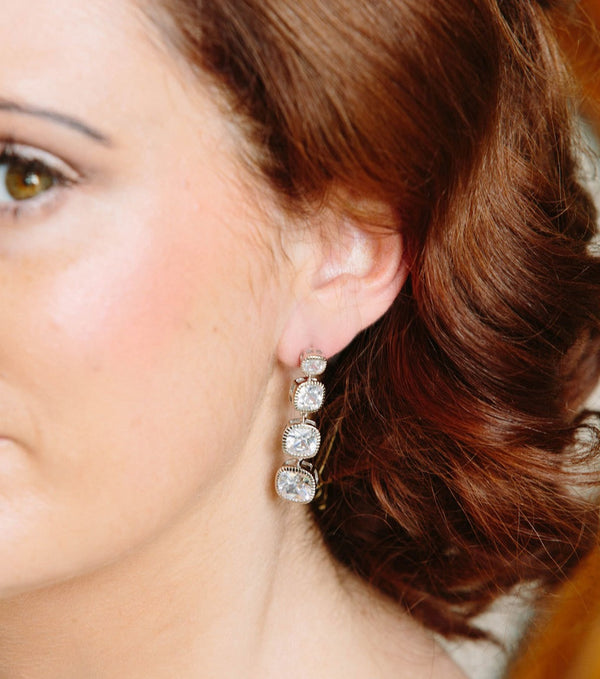 Cushion Cut Long Drop Earrings