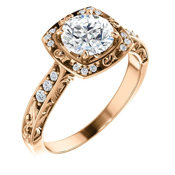 Harlow 14K Rose Gold Round Diamond Sculptural Halo Engagement Ring
