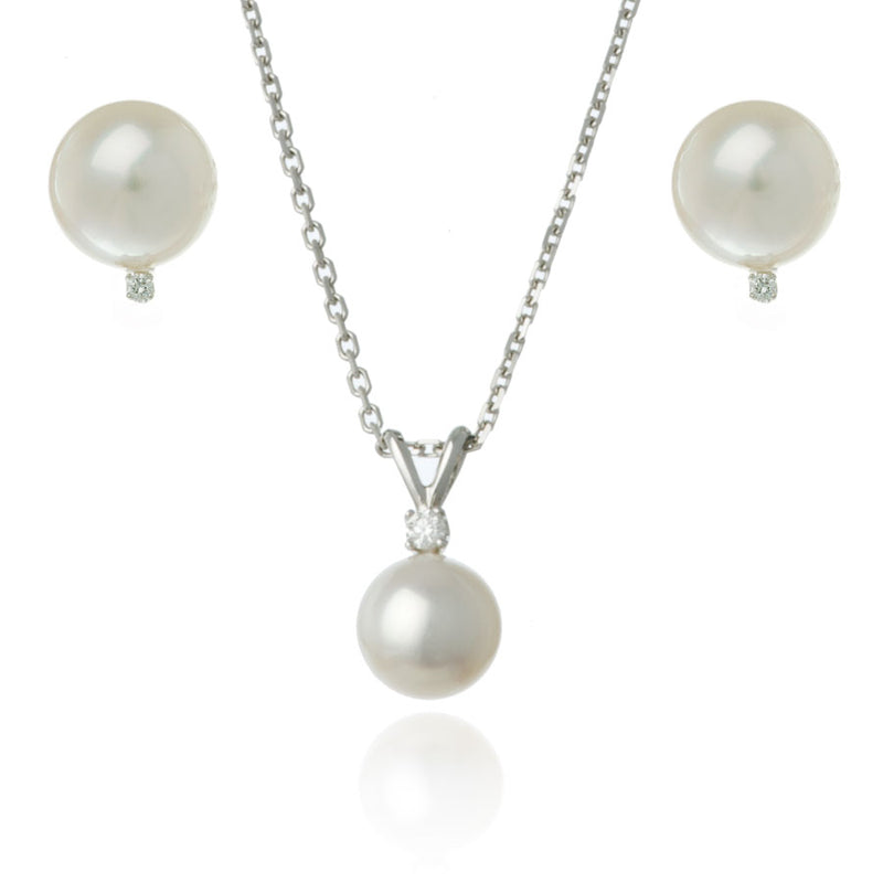 White Gold 8mm Freshwater Pearl and Diamond Set - Thomas Laine Jewelry