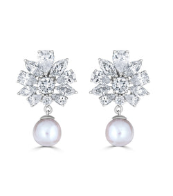 Grace Floral Freshwater Pearl Drop Earrings