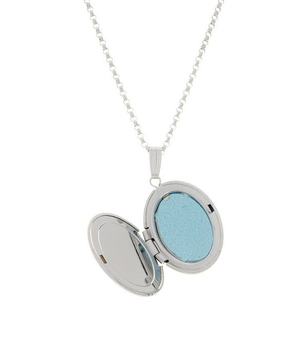 Sterling Silver Mother of Pearl Oval Locket - Thomas Laine Jewelry