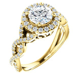 Gabriella 14K Yellow Gold Round Diamond Infinity Halo Engagement Ring - Thomas Laine Jewelry