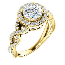 Gabriella 14K Yellow Gold Round Diamond Infinity Halo Engagement Ring
