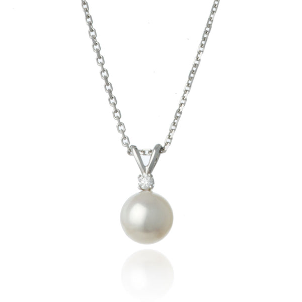 White Gold Diamond 8mm Pearl Pendant Necklace - Thomas Laine Jewelry