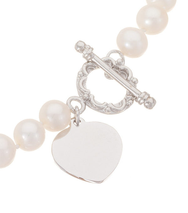 Freshwater Pearl Sterling Silver Heart Toggle Bracelet - Thomas Laine Jewelry