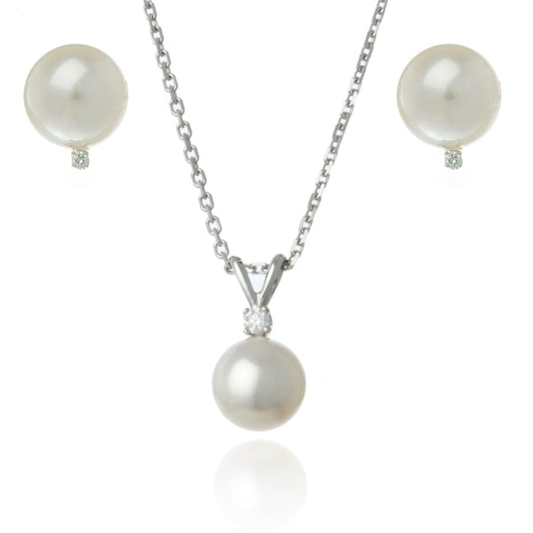 White Gold 8mm Freshwater Pearl and Diamond Set