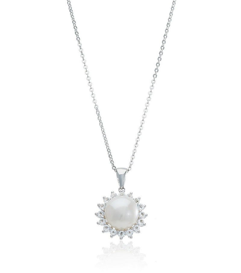 Pearl and White Topaz Victoria Pendant - Thomas Laine Jewelry
