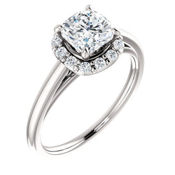 Brooks 14K White Gold Cushion Cut Diamond Halo Engagement Ring