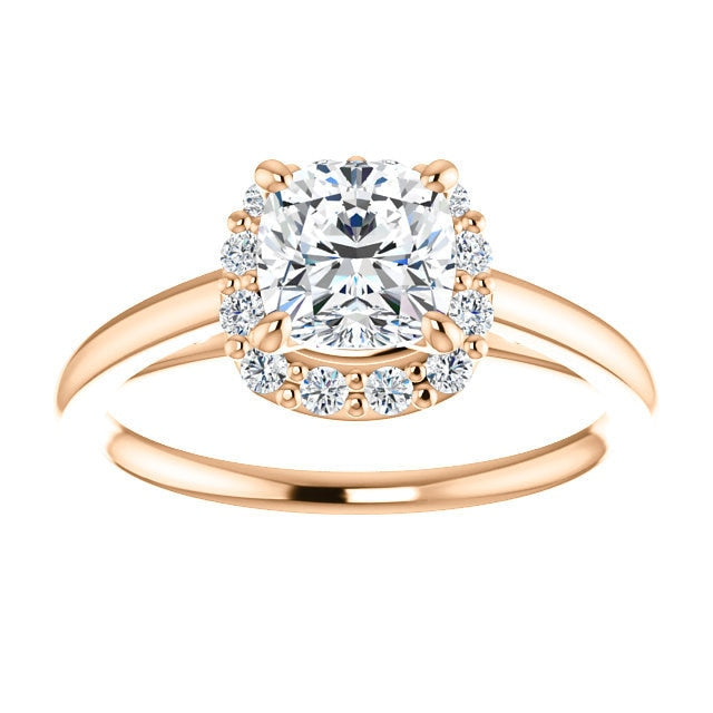 Brooks Cushion Cut Diamond Halo Engagement Ring 14K Rose Gold