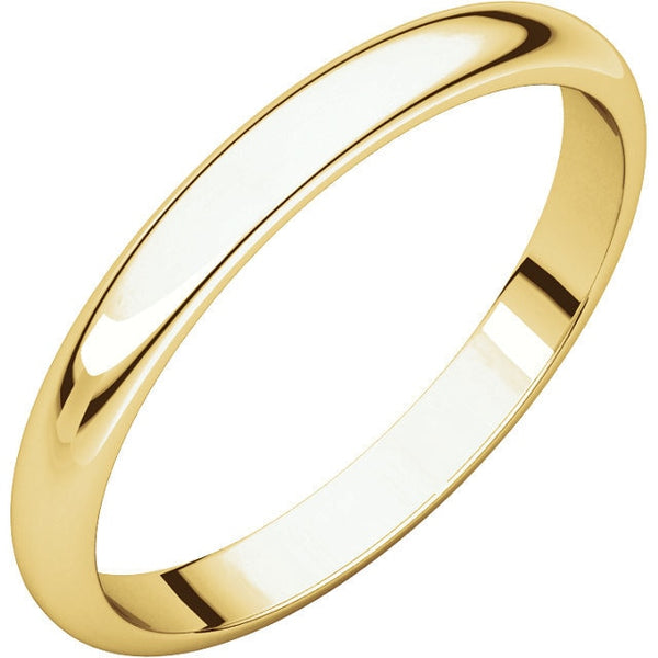 2.5mm Half Round Wedding Band