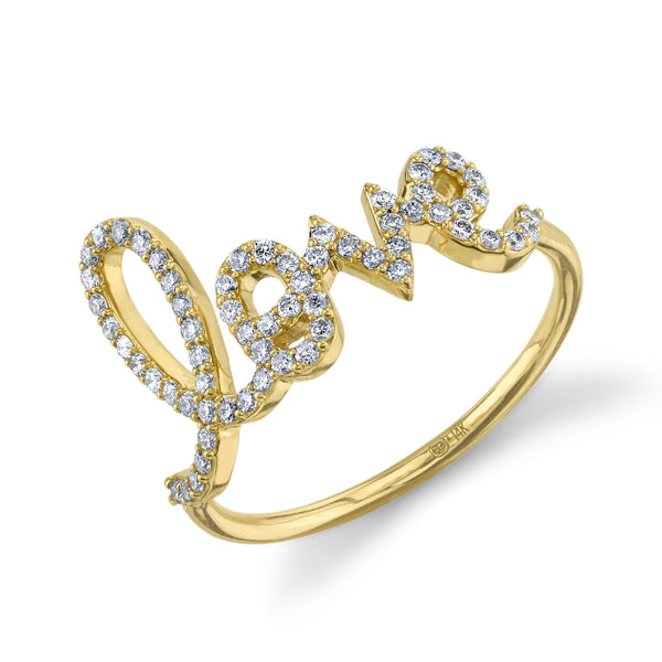 Gold and Diamond Large Love Ring - Thomas Laine Jewelry