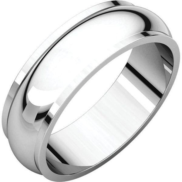 6mm Half Round Edge Wedding Band