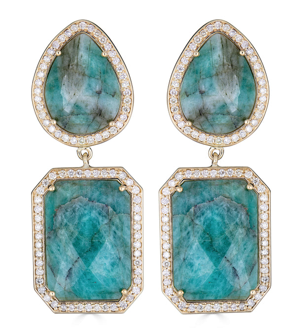 14k Yellow Gold  Natural Slice Emerald Diamond Drop Earrings