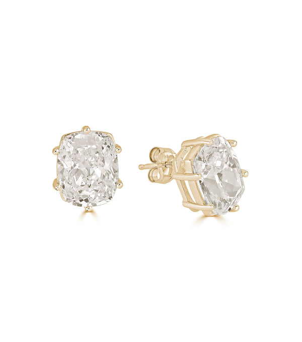 Lucille Antique Cushion Cut Stud Earrings