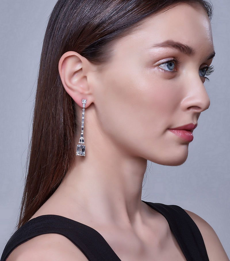Hollywood Long Emerald Cut Drop Earrings