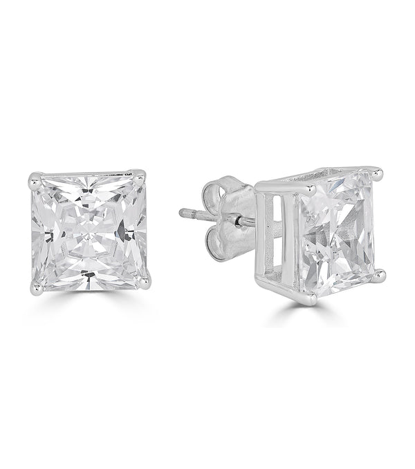 Lucille Princess Cut Stud Earrings