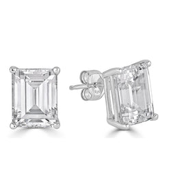 Lucille Emerald Cut Stud Earrings