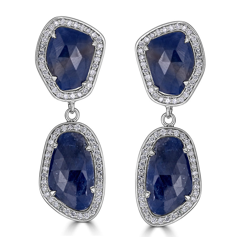 Sapphire Slice Diamond Gold Drop Earrings