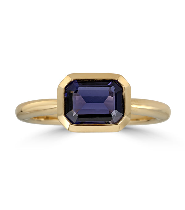 Yellow Gold Iolite Bezel Set Ring