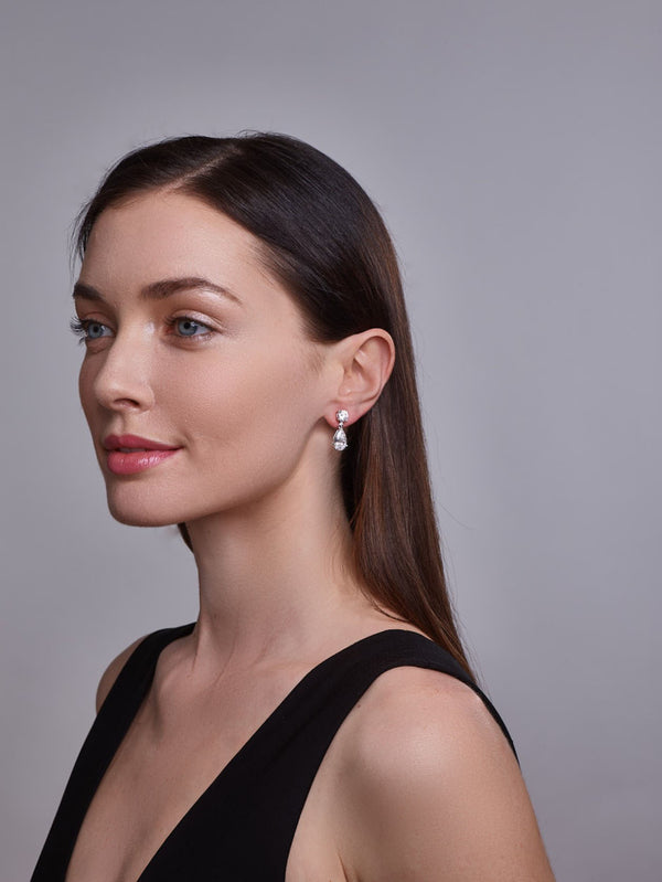 Liz Teardrop Earrings on model - Thomas Laine Bridal Jewelry