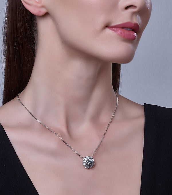 Karolyne Classic Cluster Pendant Necklace on model