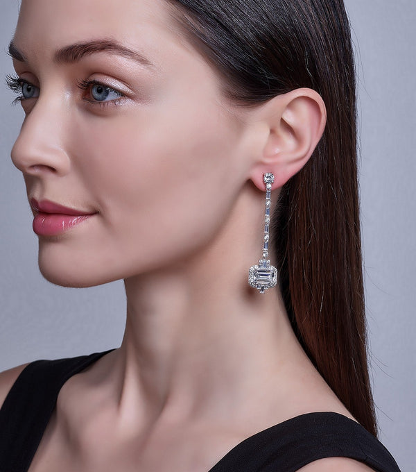 Hollywood Halo Emerald Cut Earrings on Model - Thomas Laine Jewelry
