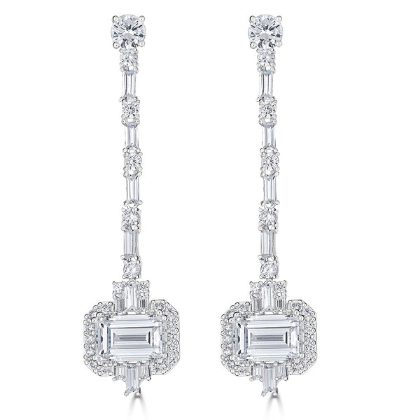Hollywood Halo Emerald Cut Earrings
