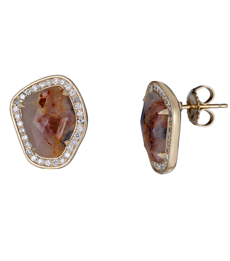 Natural Cognac Sapphire Slice and Diamond Stud Earrings