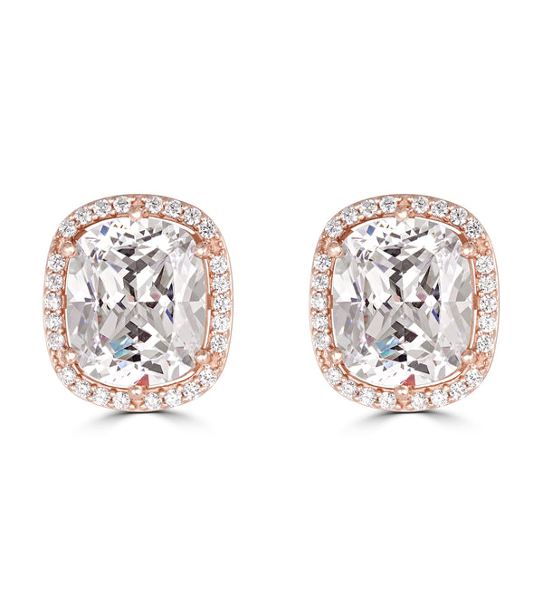 Hollywood Halo Antique Cushion Cut Stud Earrings - Thomas Laine Jewelry