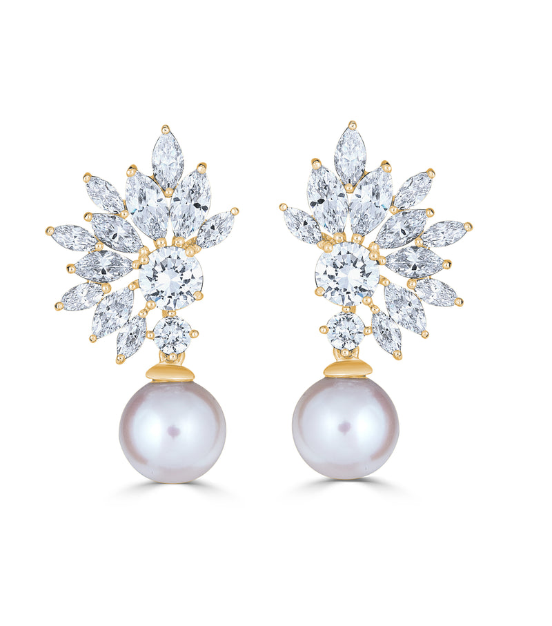 Grace Marquise Burst Freshwater Pearl Earrings