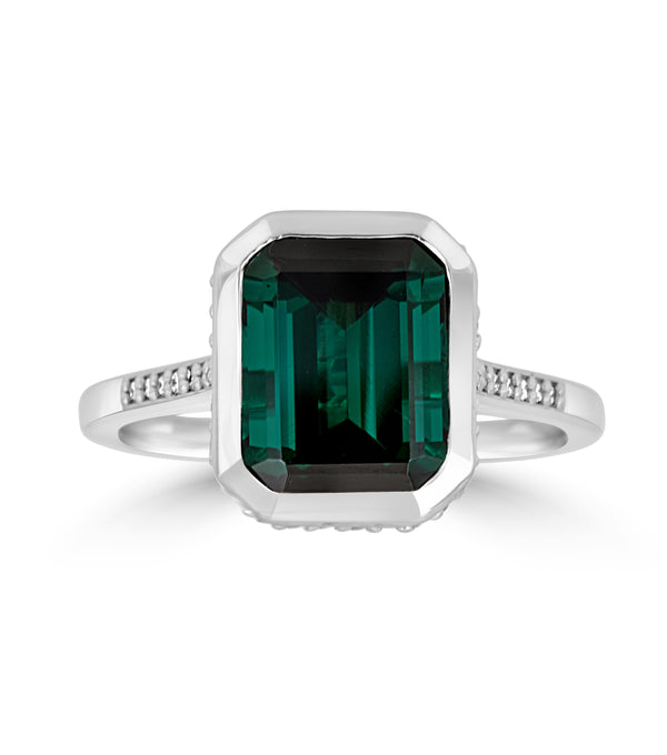 Green Tourmaline Emerald Cut Bezel Set Ring with Pave Diamonds - 14k White Gold