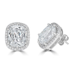 Hollywood Halo Antique Cushion Stud Earrings