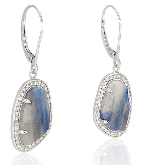 18k White Gold Blue Grey Sapphire Slice Diamond Halo Earrings