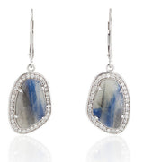 18k White Gold Blue Grey Sapphire Slice Earrings - Thomas Laine Jewelry