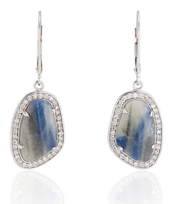 18k White Gold Blue Grey Sapphire Slice Earrings - One of a Kind Sapphire Slice Earrings