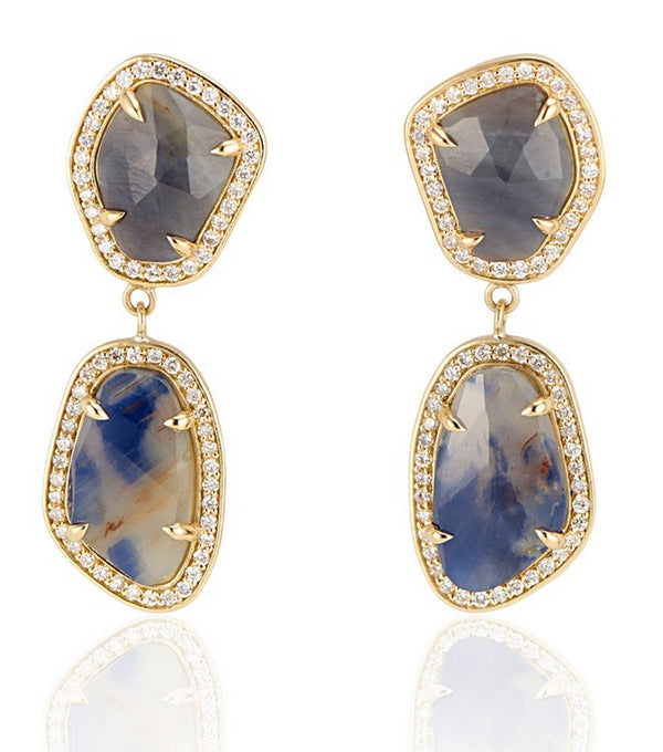 18K Yellow Gold Blue and Cognac Sapphire with Diamond Halo Slice Earrings