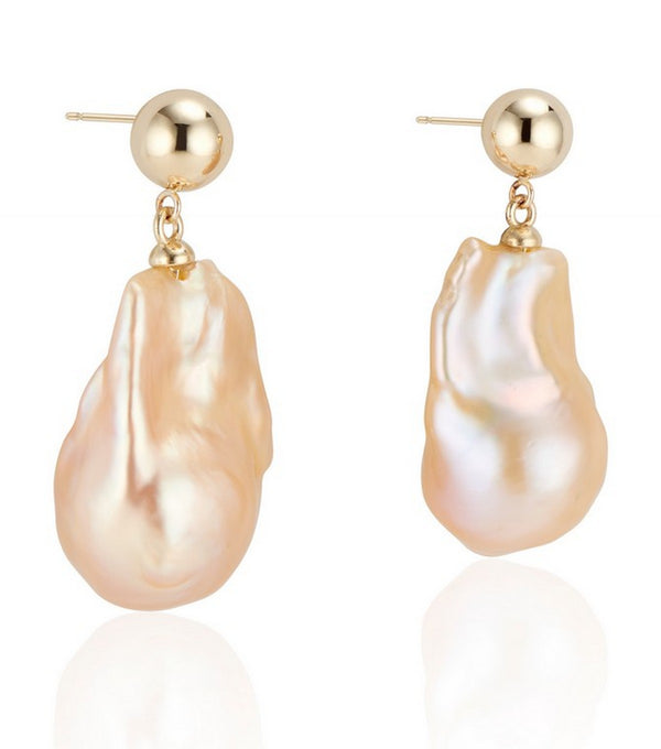 14k Yellow Gold Double Bubble Baroque Pearl Earrings - Thomas Laine Jewelry